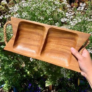 Vintage Wood Tray with Rope Handles